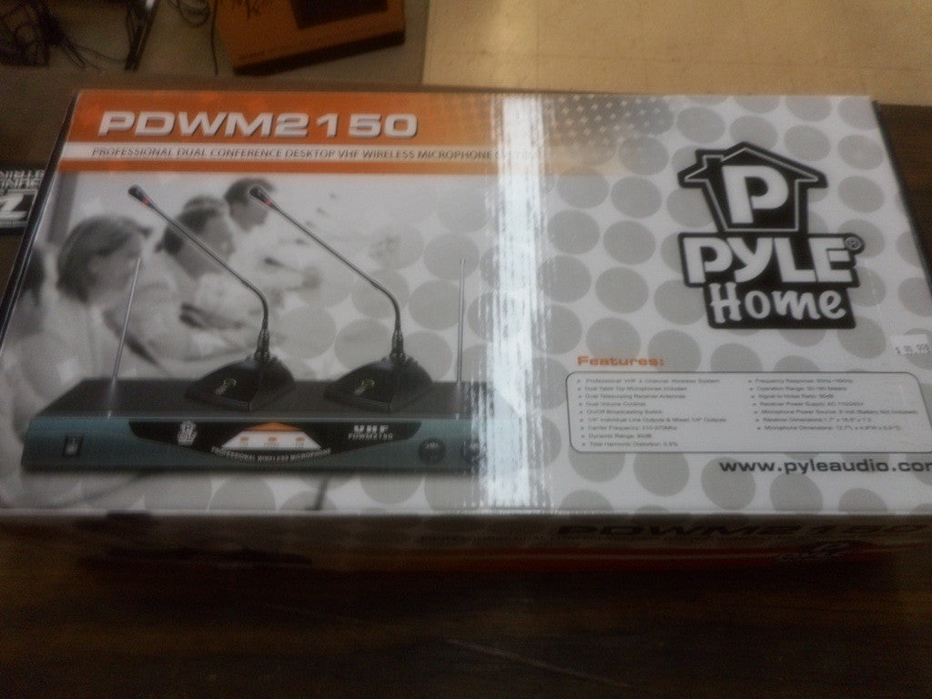 Pyle Pro PDWM2150 Professional Dual Table Top VHF Wireless Microphone System