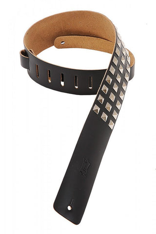 Levy's Leathers M1SD-BLK 2.5-inch Leather Strap with Studs,Black