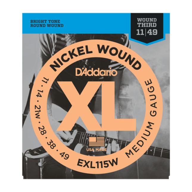 EXL115W Nickel Wound, Medium/Blues-Jazz Rock, Wound 3rd, 11-49