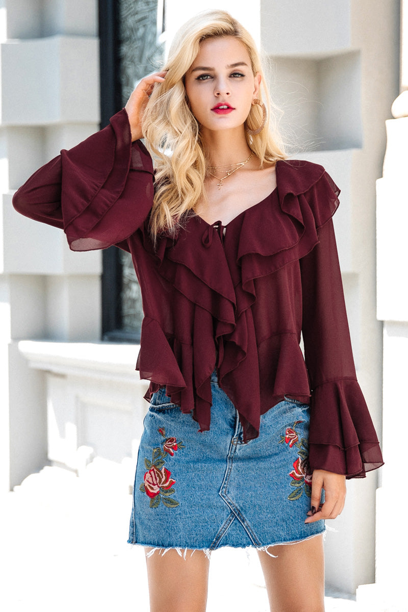 NEW Beautiful Vintage Kerrin Flare Sleeve Chiffon Blouse (size 10-12) - SALE