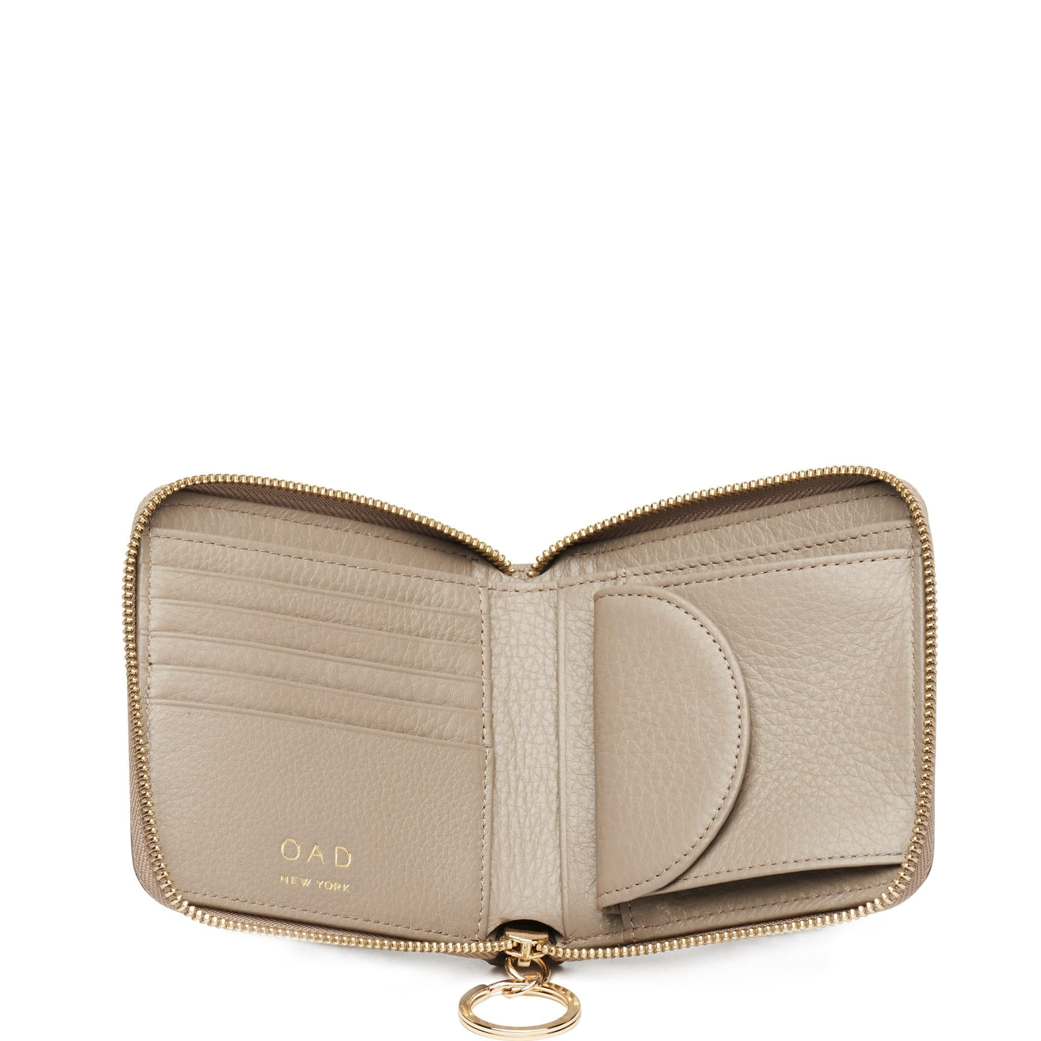 Half Zip Around Wallet - Taupe - OAD NEW YORK - 2