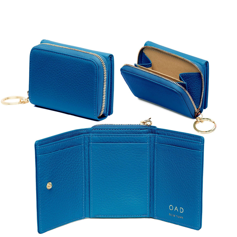 Mini Zip Around Wallet - Sea Blue - OAD NEW YORK