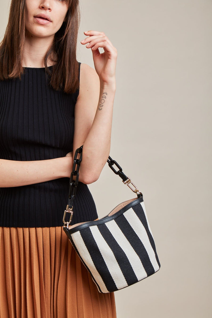 Striped Ava Bag - True Black - OAD NEW YORK