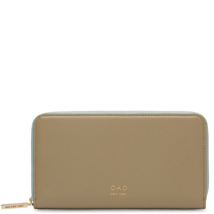 Calf Continental Carryall Wallet - Taupe + Cloud Blue - OAD NEW YORK