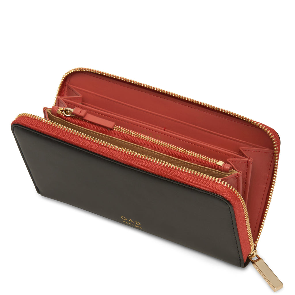 Calf Continental Carryall Wallet - True Black + Rosewood - OAD NEW YORK