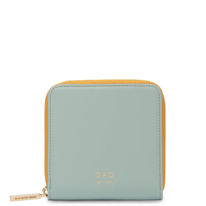 Calf Half Zip Carryall Wallet - Cloud Blue + Honey - OAD NEW YORK