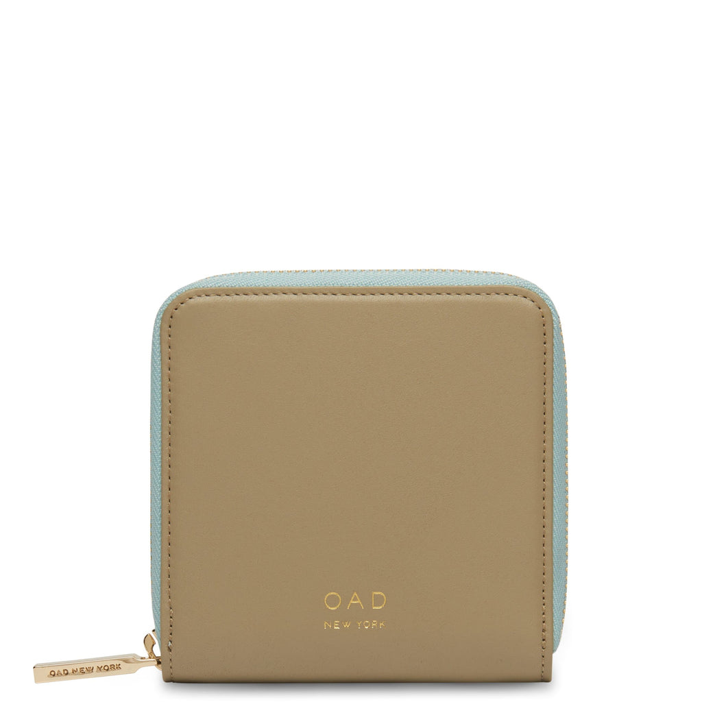 Calf Half Zip Carryall Wallet - Taupe + Cloud Blue - OAD NEW YORK