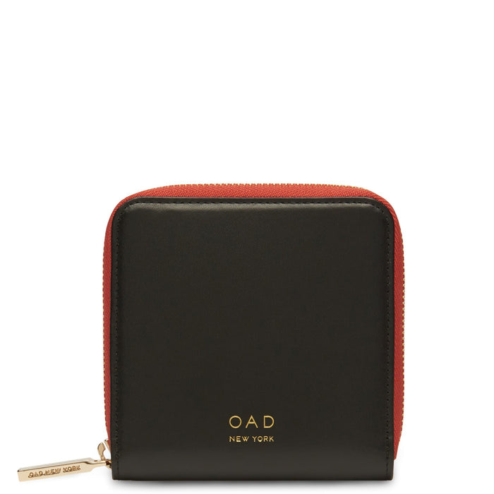 Calf Half Zip Carryall Wallet - True Black + Rosewood - OAD NEW YORK