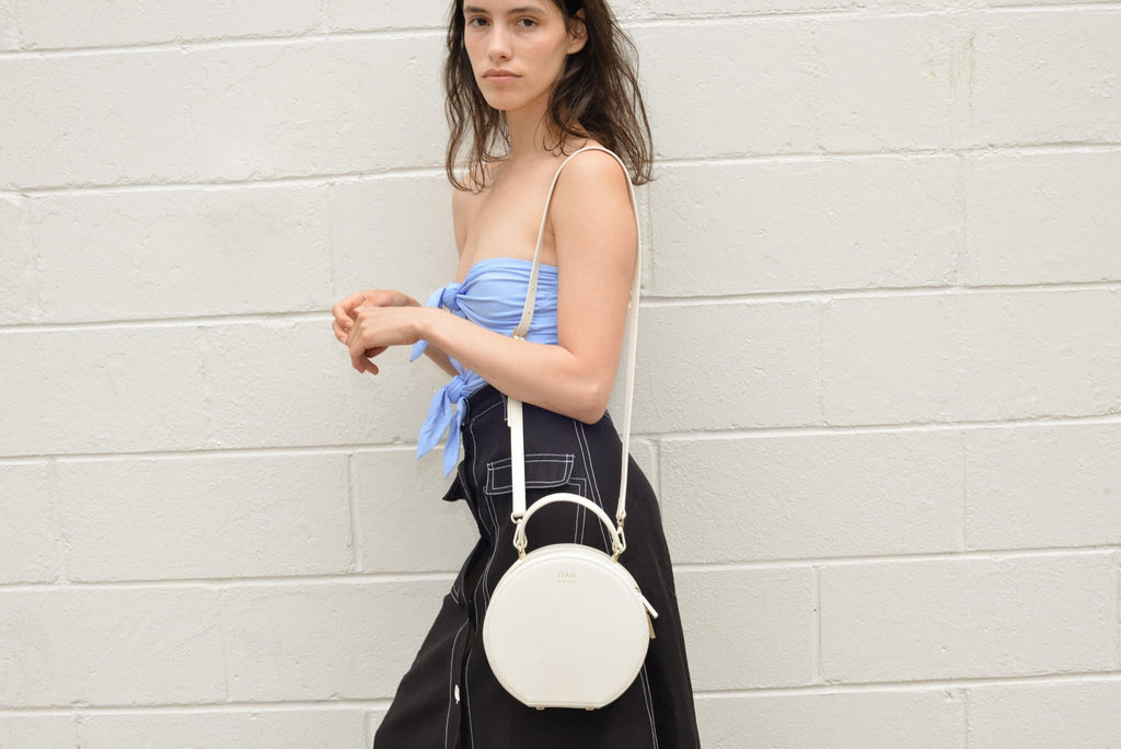 Calf Mini Circle Satchel - Soft White - OAD NEW YORK