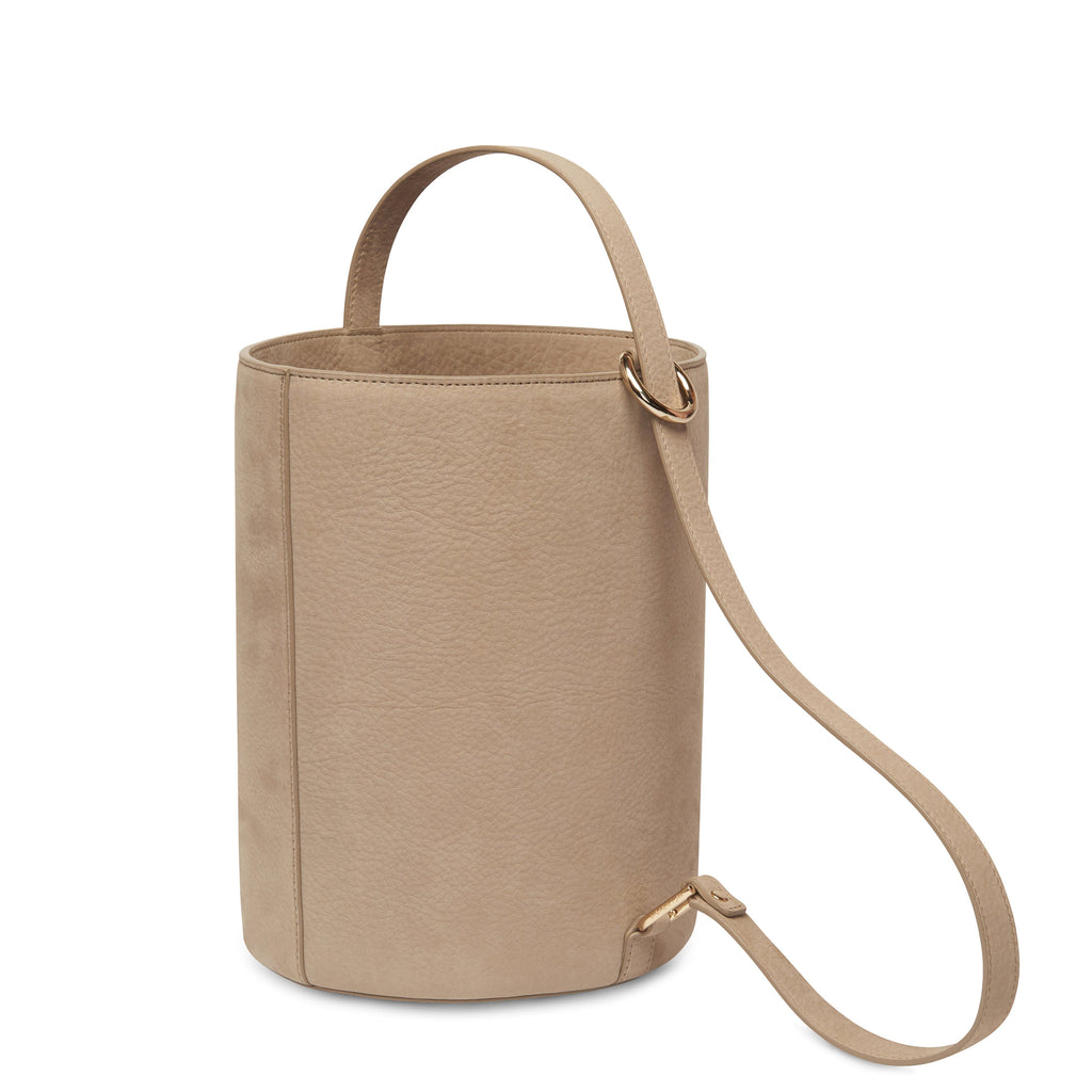 Nubuck Dome Bucket Bag - Taupe