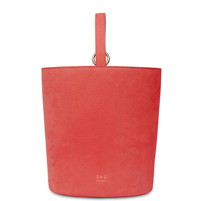Nubuck Dome Bucket Bag - Rouge