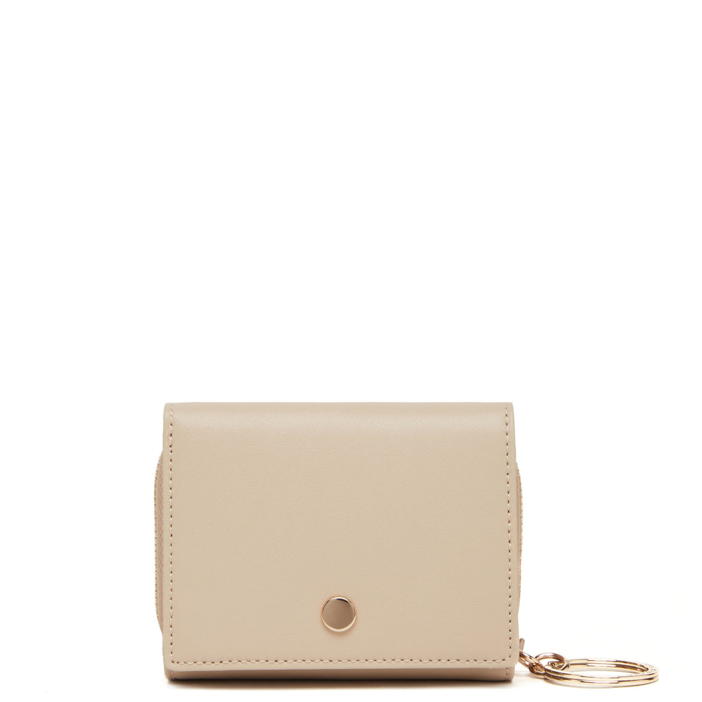 Calf Mini Zip Around Wallet - Beige