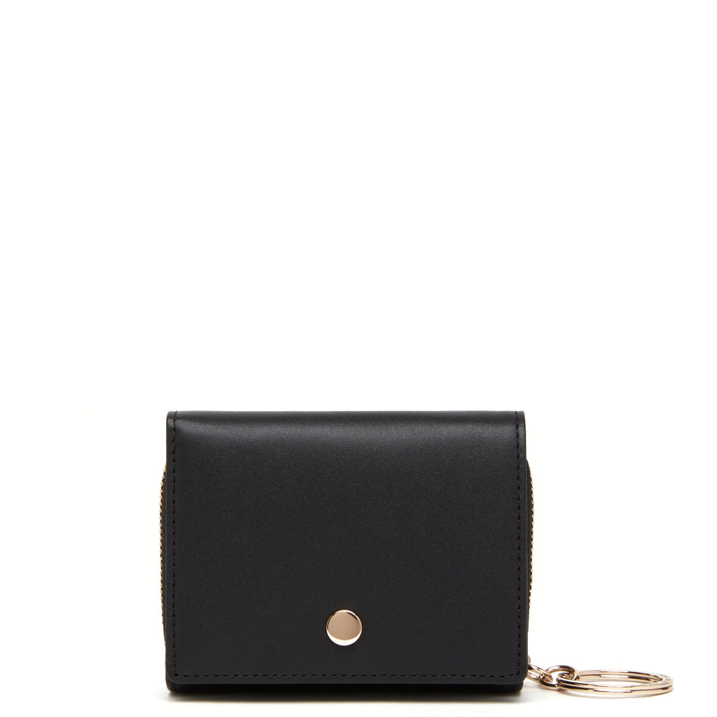 Calf Mini Zip Around Wallet - True Black