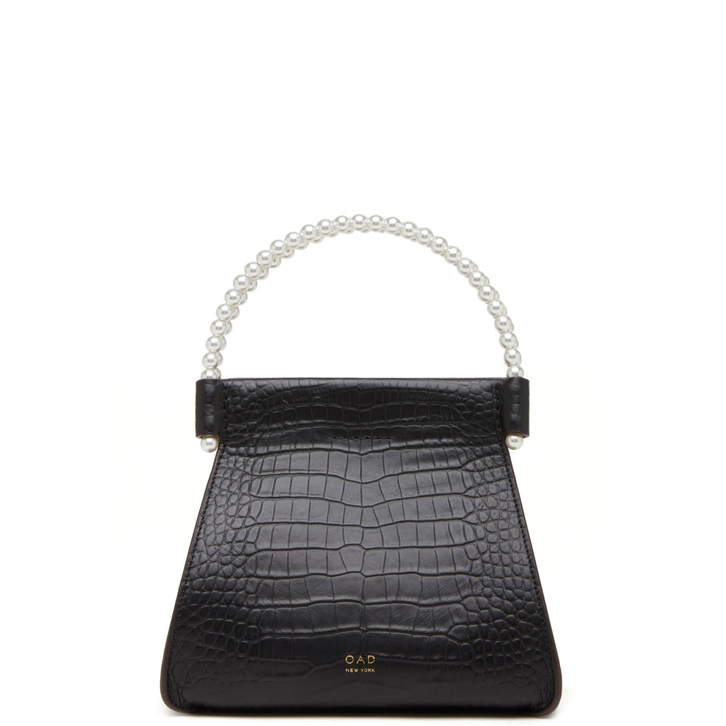 Croco Mini B Isla Bag - True Black + Pearl