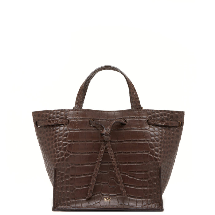 Croco Mini Edie Bag - Dark Brown