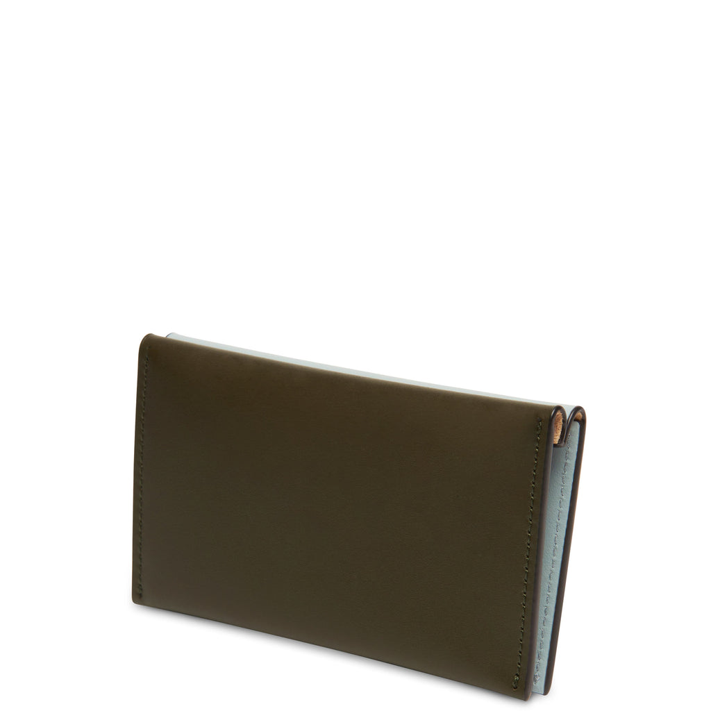Calf Carryall Card Case - Moss + Cloud Blue - OAD NEW YORK
