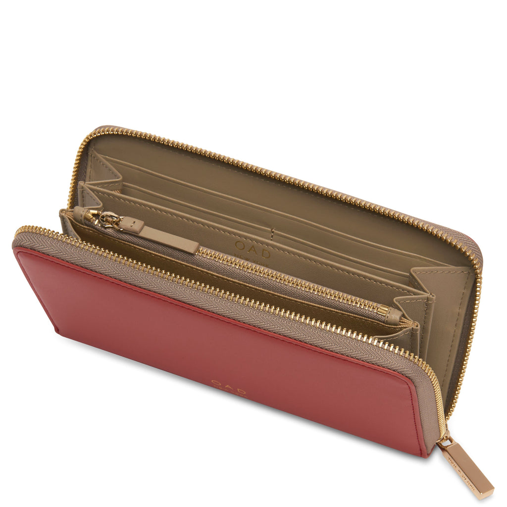 Calf Continental Carryall Wallet - Rosewood + Taupe - OAD NEW YORK