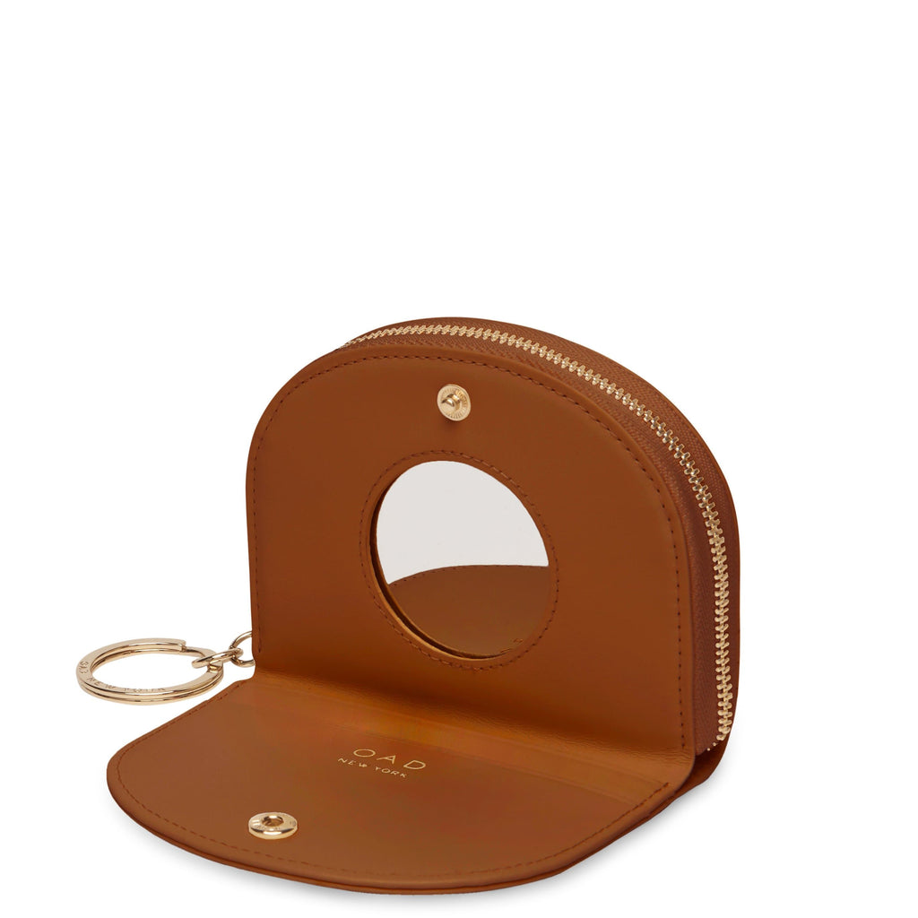 Calf Dia Mini Mirror Wallet - Saddle Brown - OAD NEW YORK