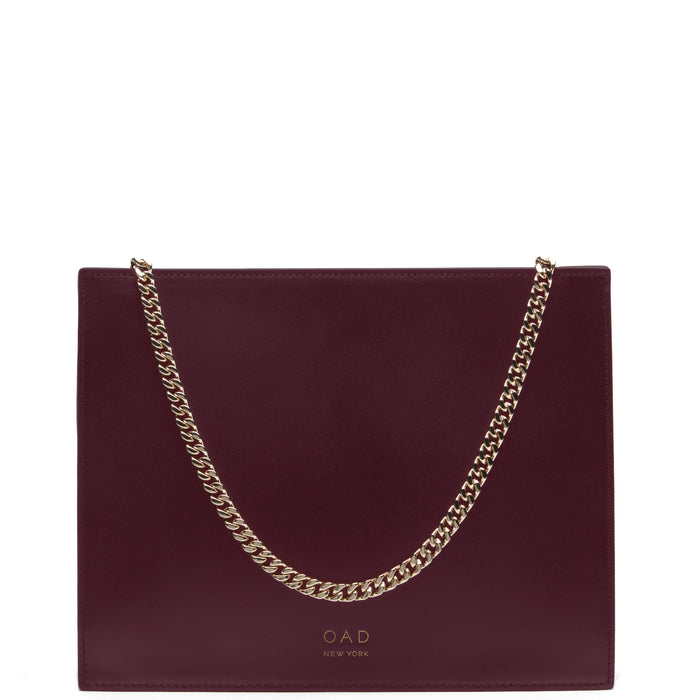 Calf Quinn Chain Clutch - Bordeaux - OAD NEW YORK