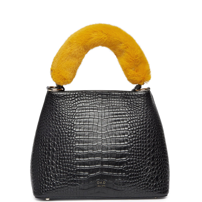Croco Nora Bag - True Black + Honey - OAD NEW YORK