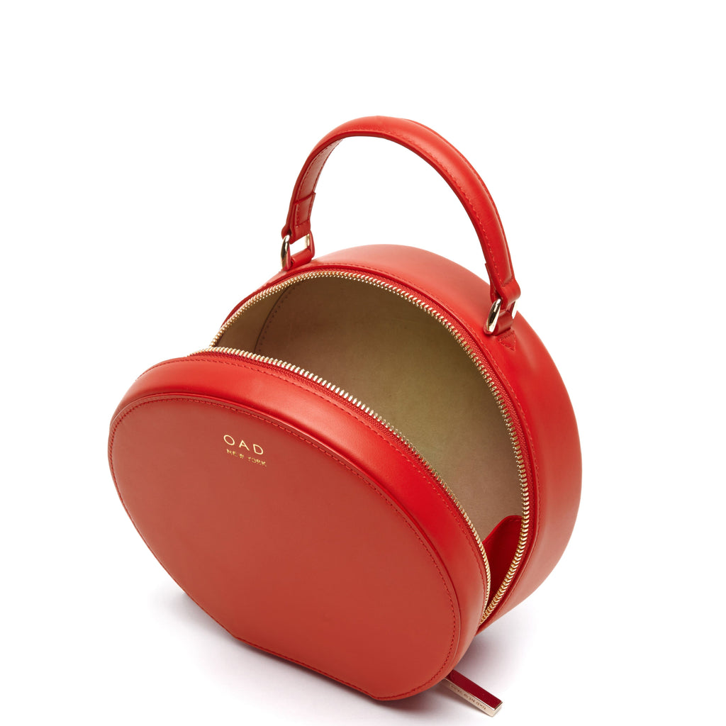 Calf Mini Circle Satchel - Classic Red - OAD NEW YORK