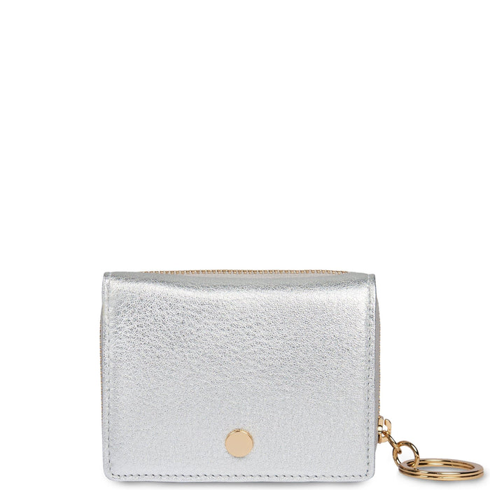 Mini Zip Around Wallet - Silver - OAD NEW YORK