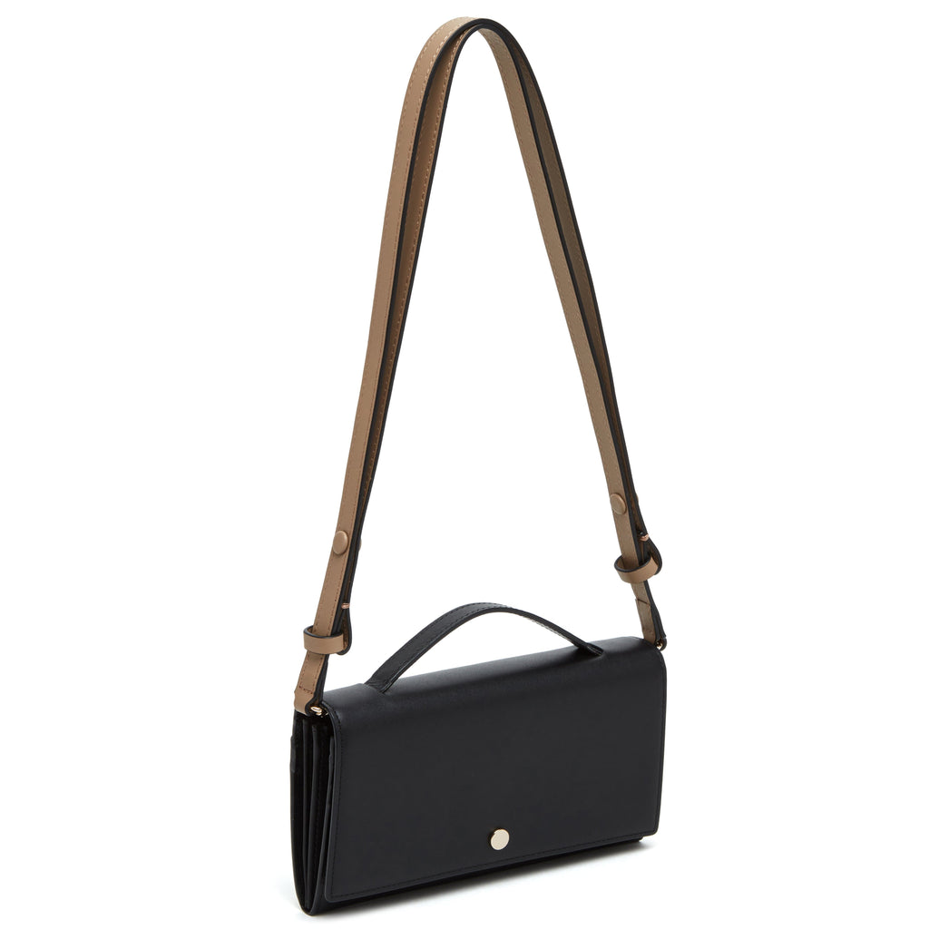 Zoe Crossbody Clutch - True Black + Porcini