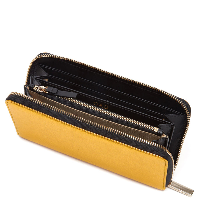 Continental Carryall Wallet - Honey Gold + Black - OAD NEW YORK