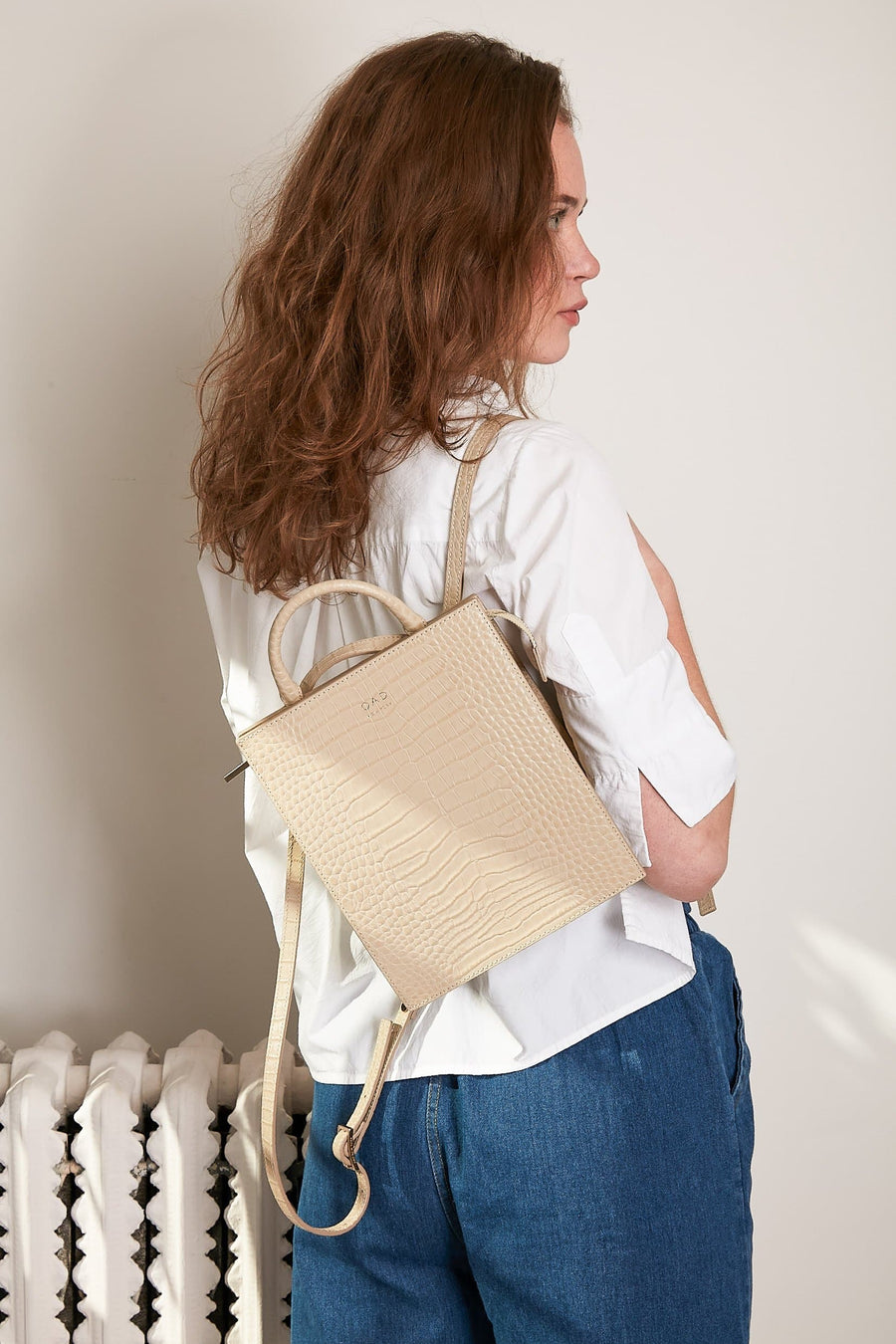 Croco Mini Arc Backpack - Sand - OAD NEW YORK