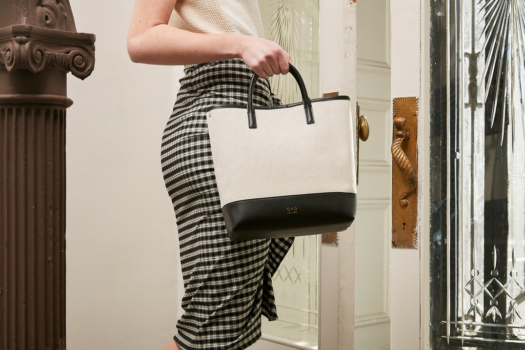 Tall Canvas Carryall Tote - True Black + Sand