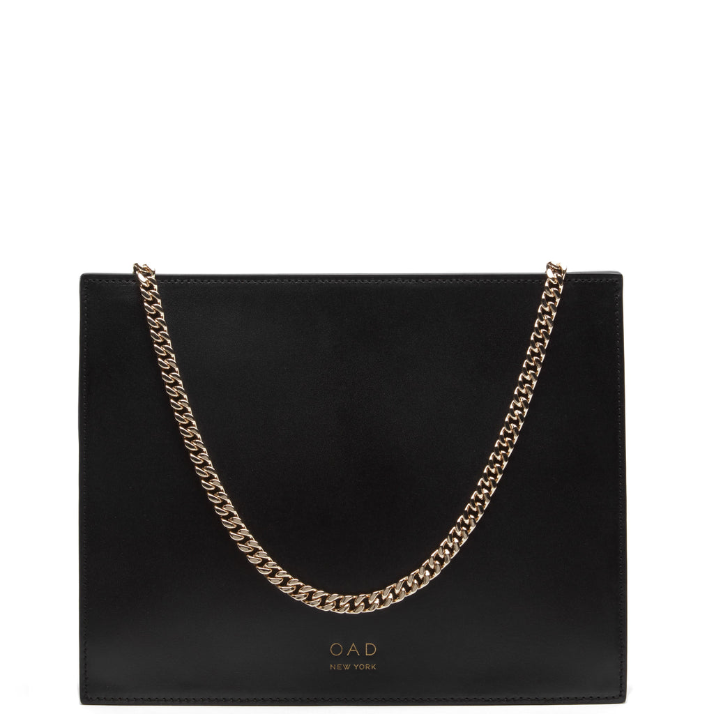 Calf Quinn Chain Clutch - True Black - OAD NEW YORK