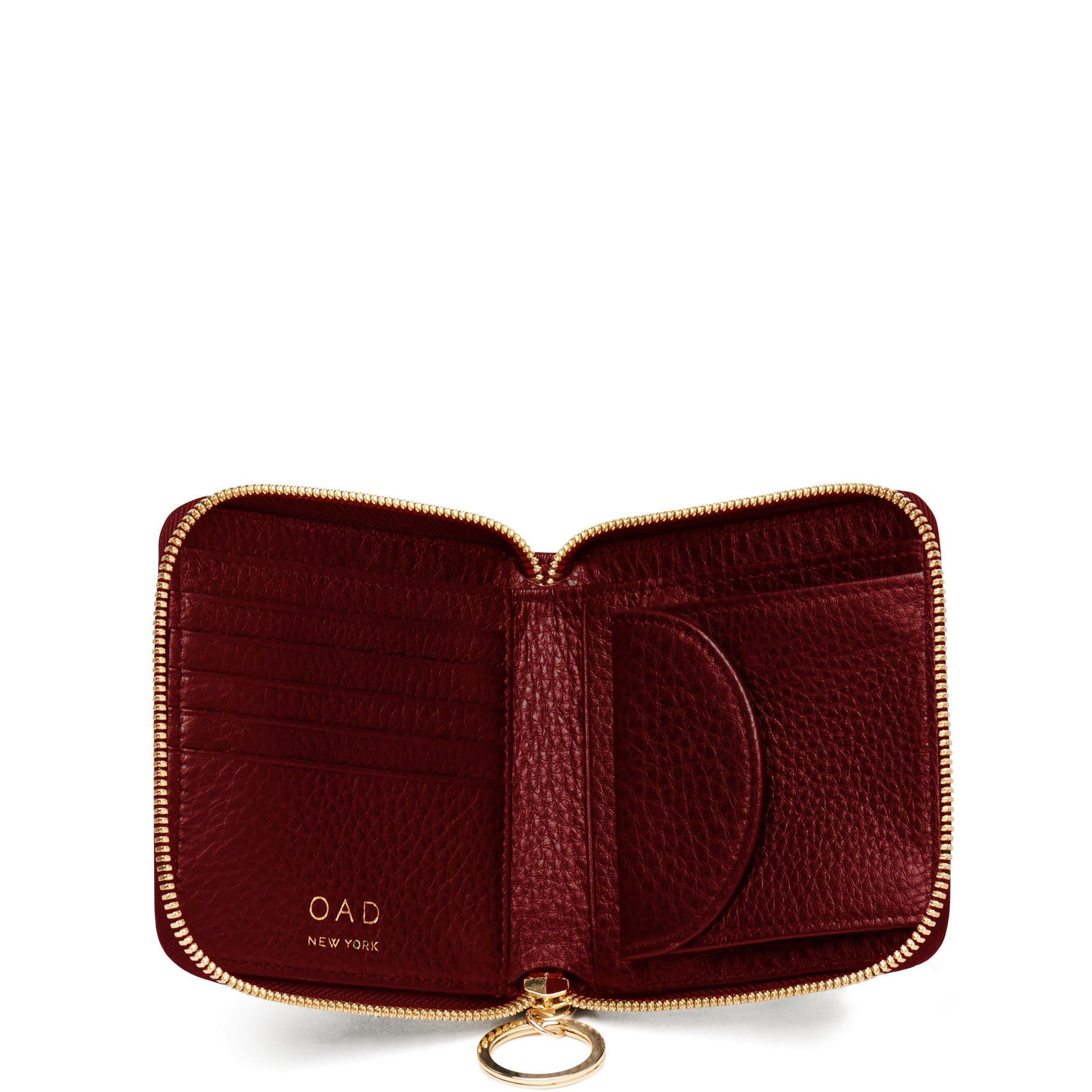 Half Zip Around Wallet - Dark Wine - OAD NEW YORK - 2