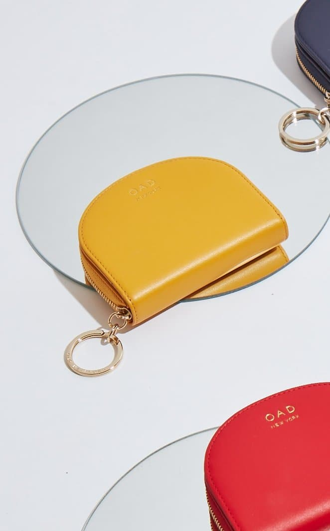 Calf Dia Mini Mirror Wallet - Honey - OAD NEW YORK
