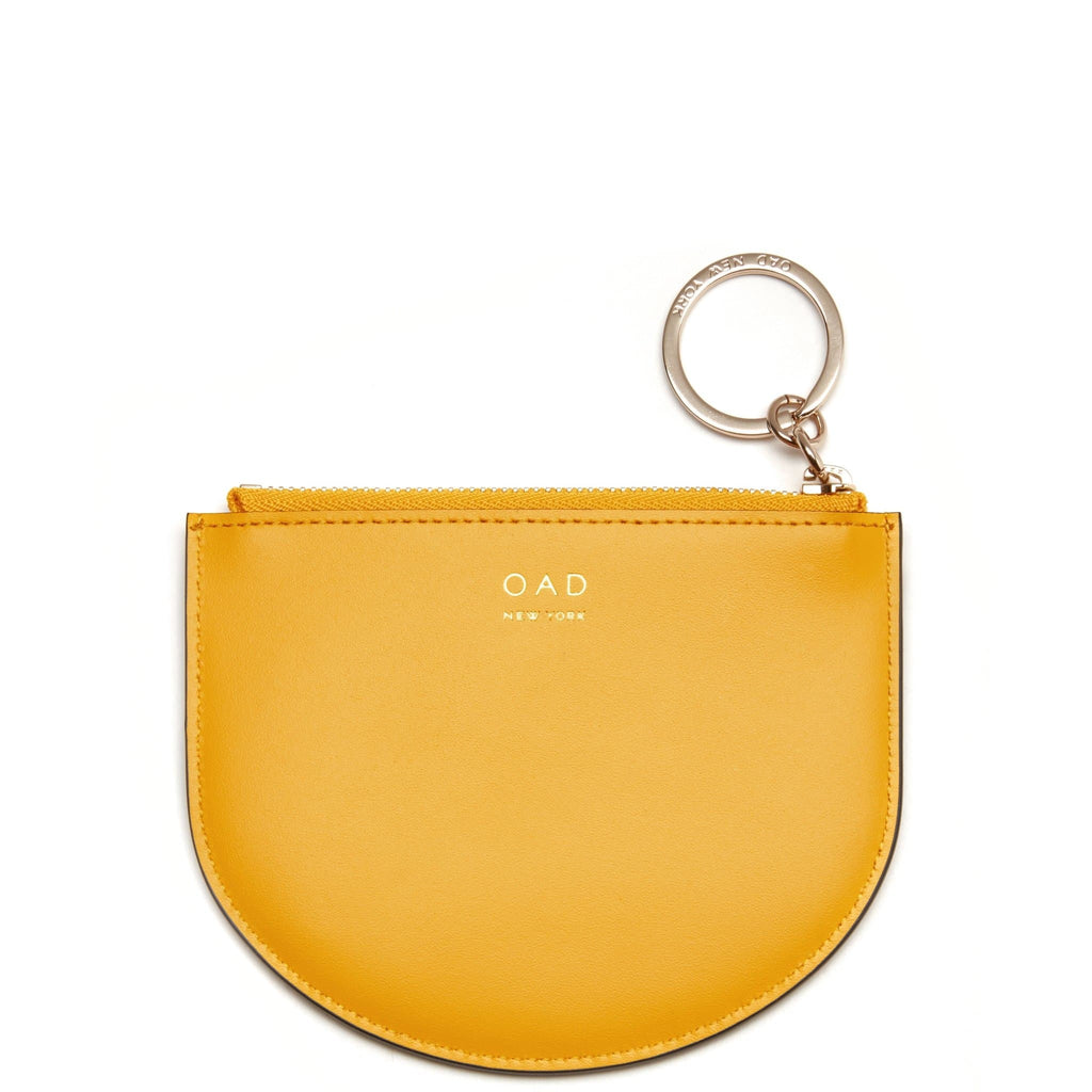 Calf Dia Zip Card Case - Honey - OAD NEW YORK