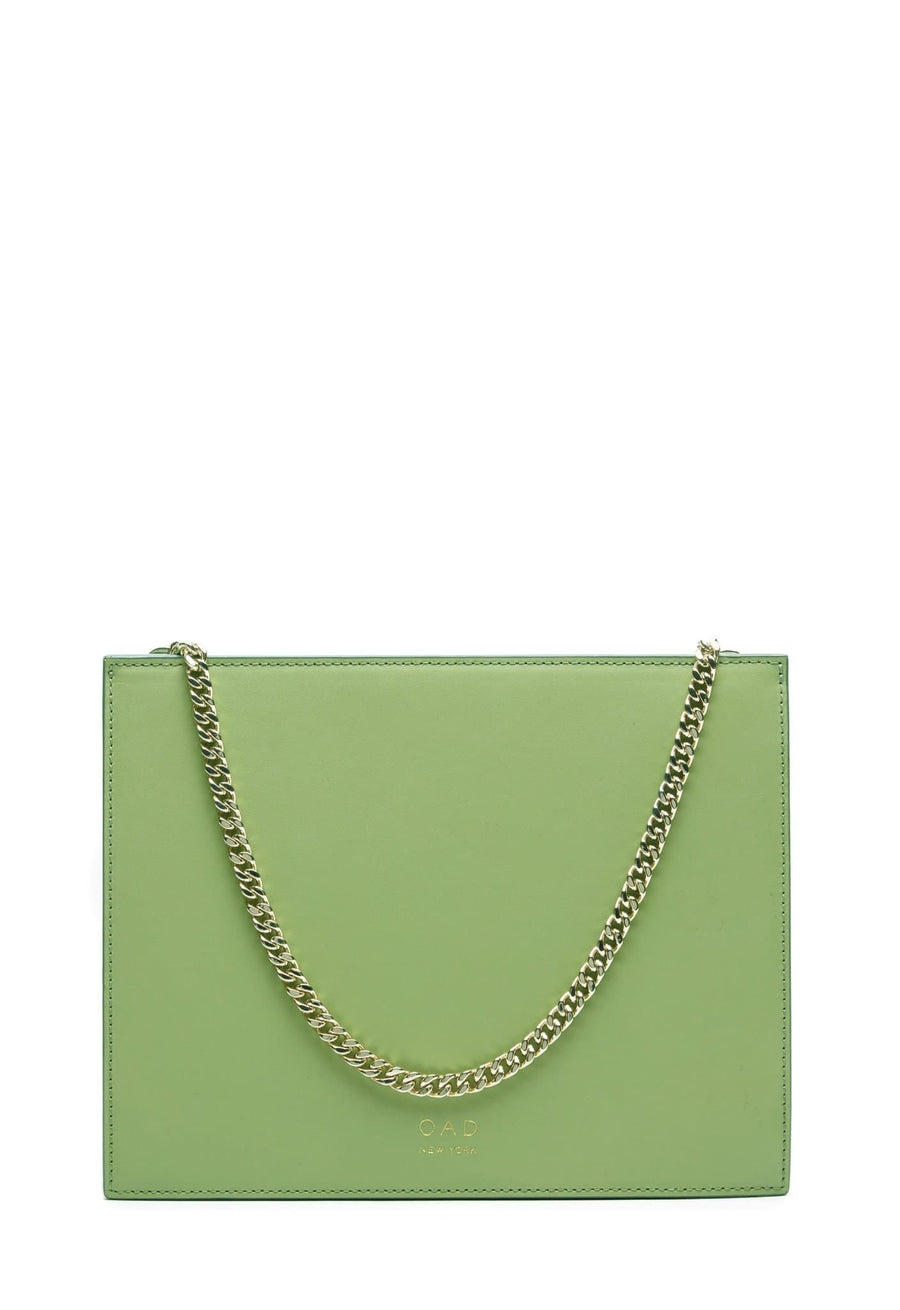 Calf Quinn Chain Clutch - Sage - OAD NEW YORK