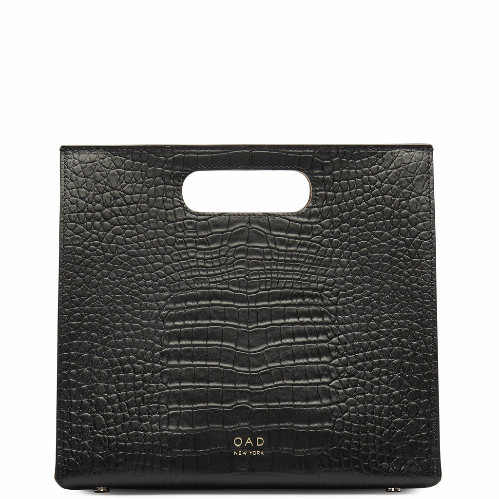 Croco Quinn Tote - True Black - OAD NEW YORK