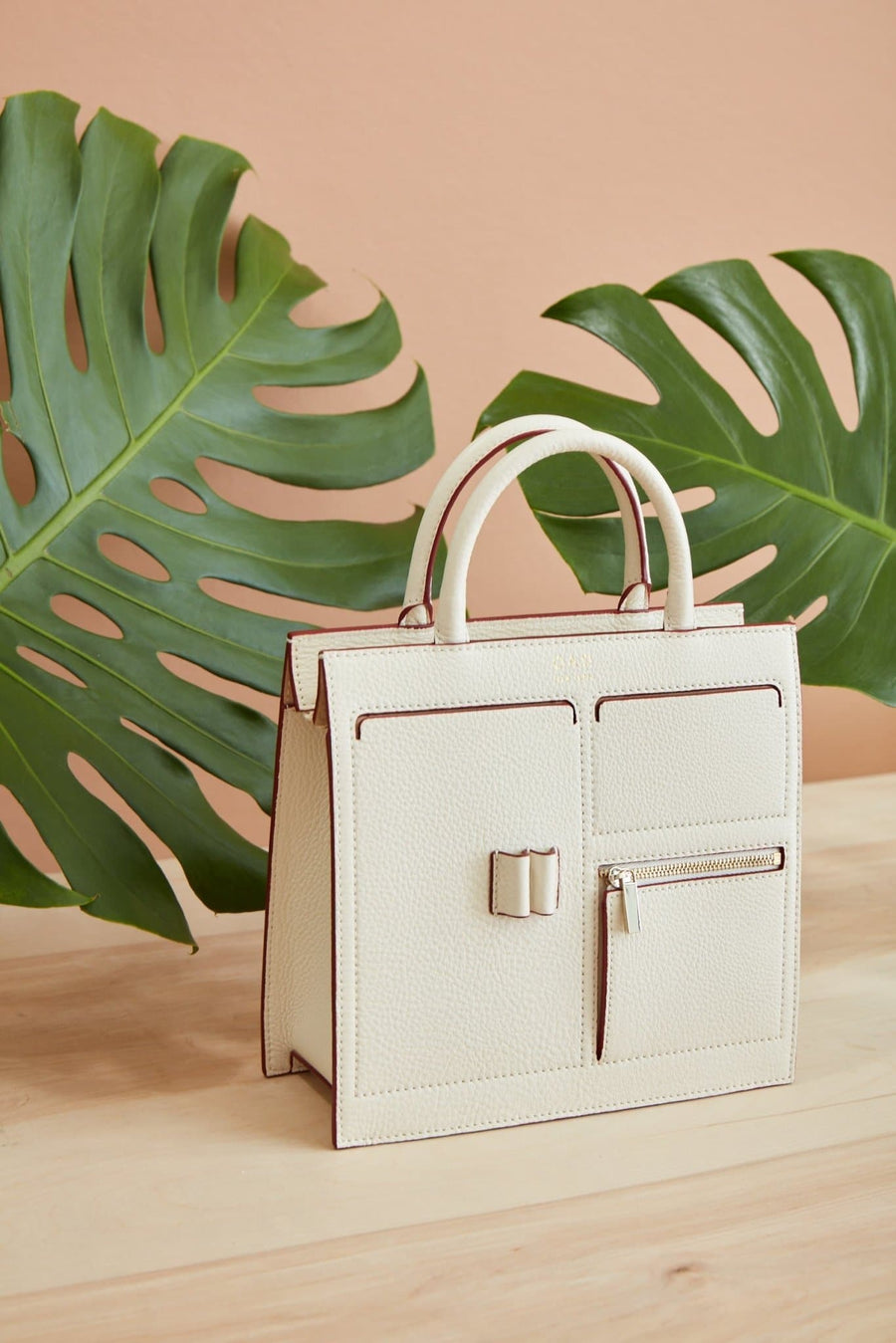 E Mini Kit Zip Satchel - Creme - OAD NEW YORK