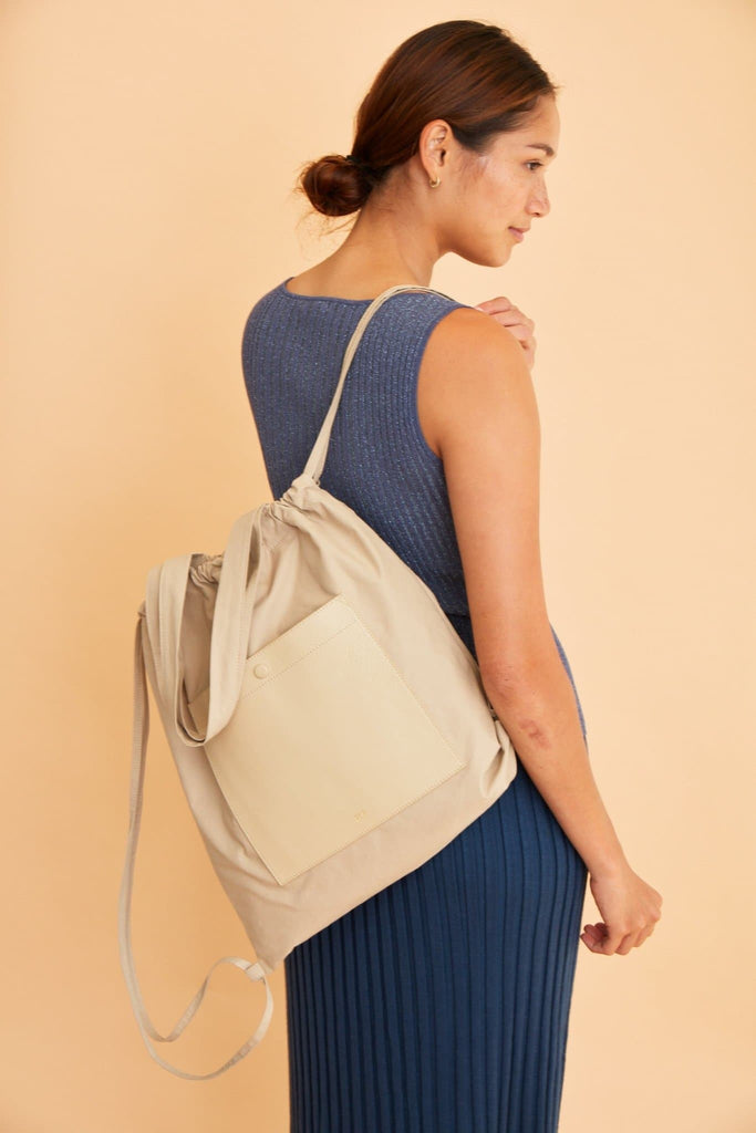 Marlow Backpack Tote - Beige - OAD NEW YORK