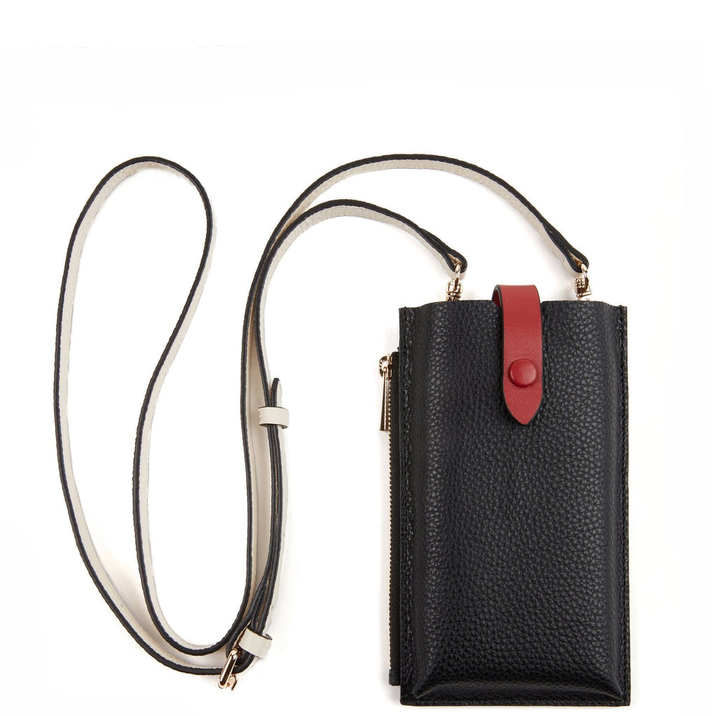 Parker Phone Crossbody - True Black + Brick Red