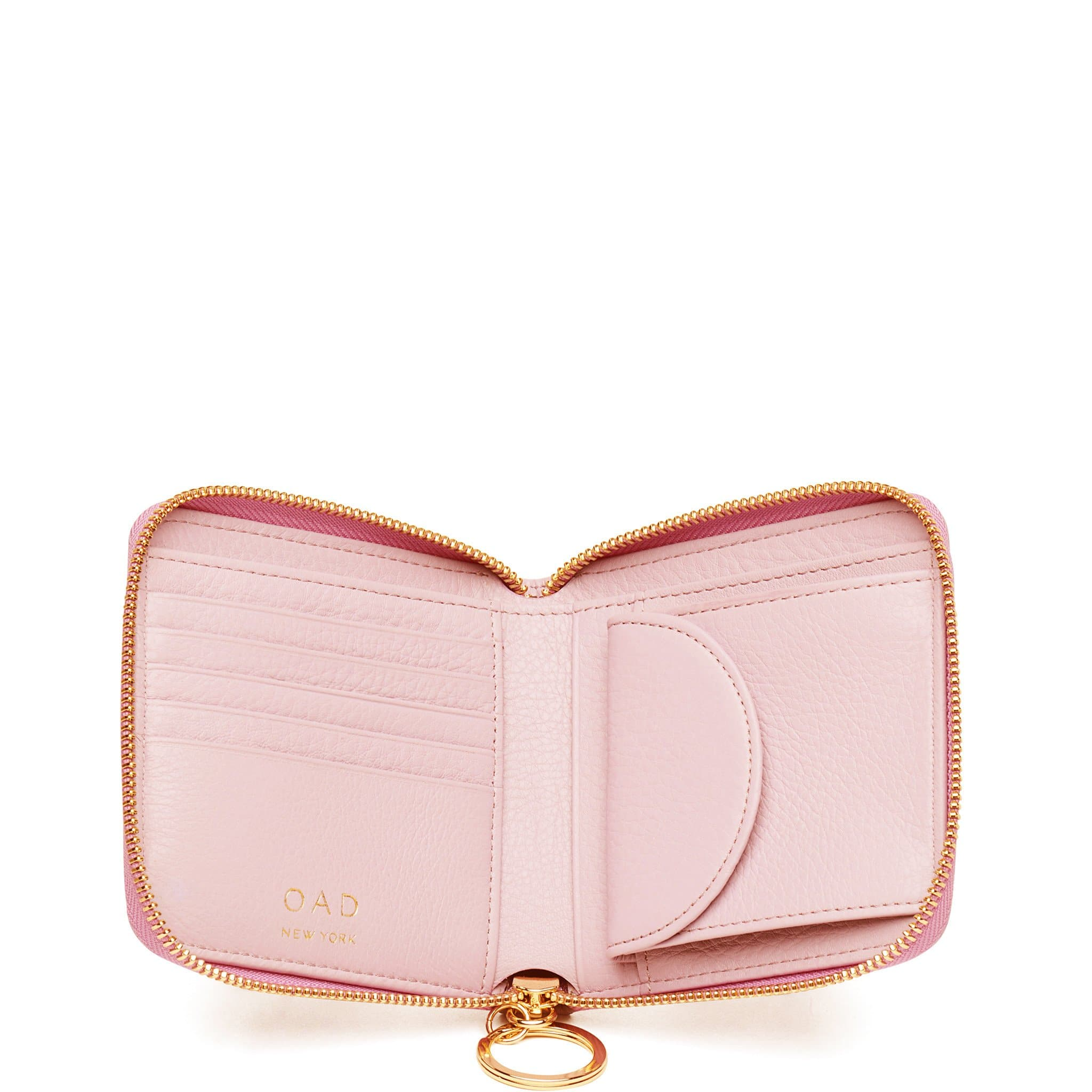 Half Zip Around Wallet - Rose Pink - OAD NEW YORK - 2