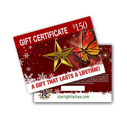 Starlight Tattoo NJ Holiday Gift Certificate - $100 for $150 Worth of Tattooing