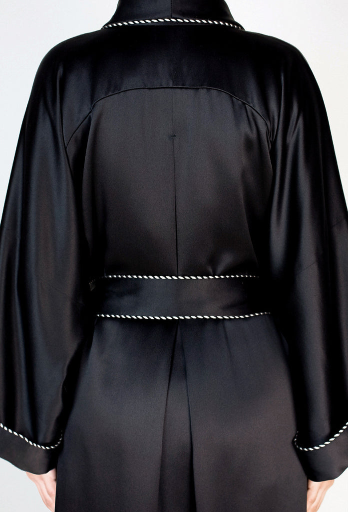 """WILLOW"" Silk Full Lined Robe - Lacquer Black"