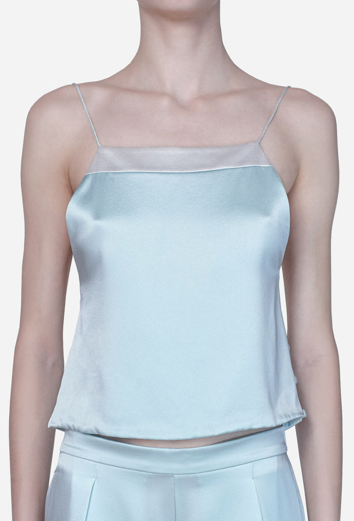 """Lotus"" Silk Strappy Top - Sea Green"