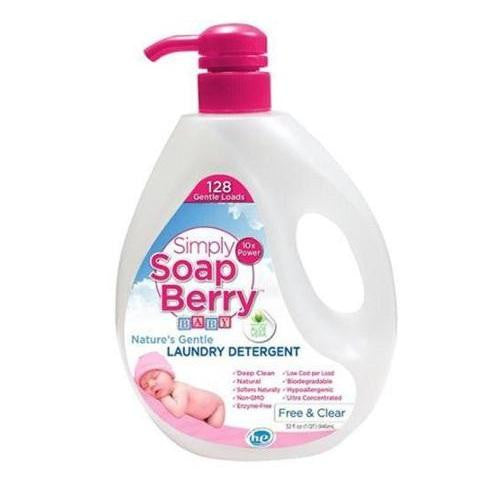 Simply Soapberry Laundry Detergent  Free And Clear  Baby  64 Loads  32 Oz
