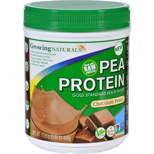Growing Naturals Pea Protein Powder  Chocolate Power  15.8 Oz