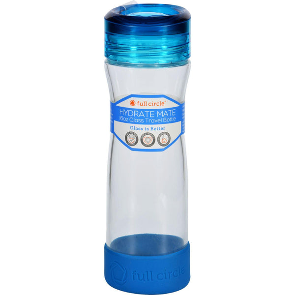 Full Circle Home Water Bottle  Travel  Glass  Hydrate Mate  Blueberry  16 Oz