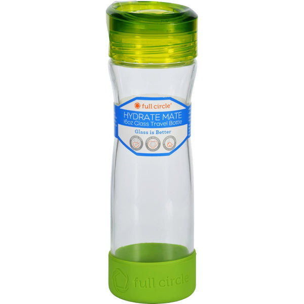Full Circle Home Water Bottle  Travel  Glass  Hydrate Mate  Green Slate  16 Oz