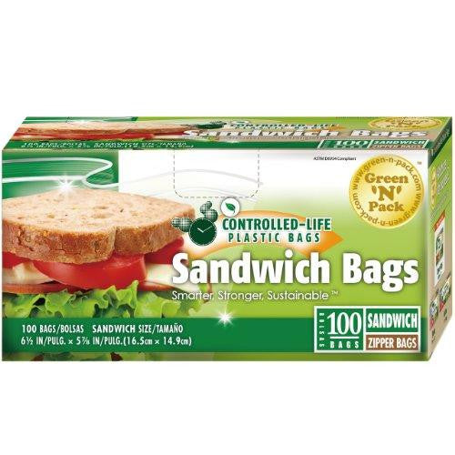 Eco Friendly Bags Green N Pack Zipper Bags  Sandwich Size  100 Bags  1 Count