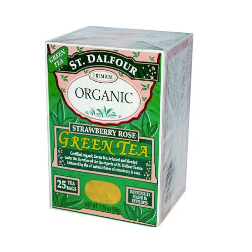 St Dalfour Organic Green Tea Strawberry Rose (1x25 Tea Bags)