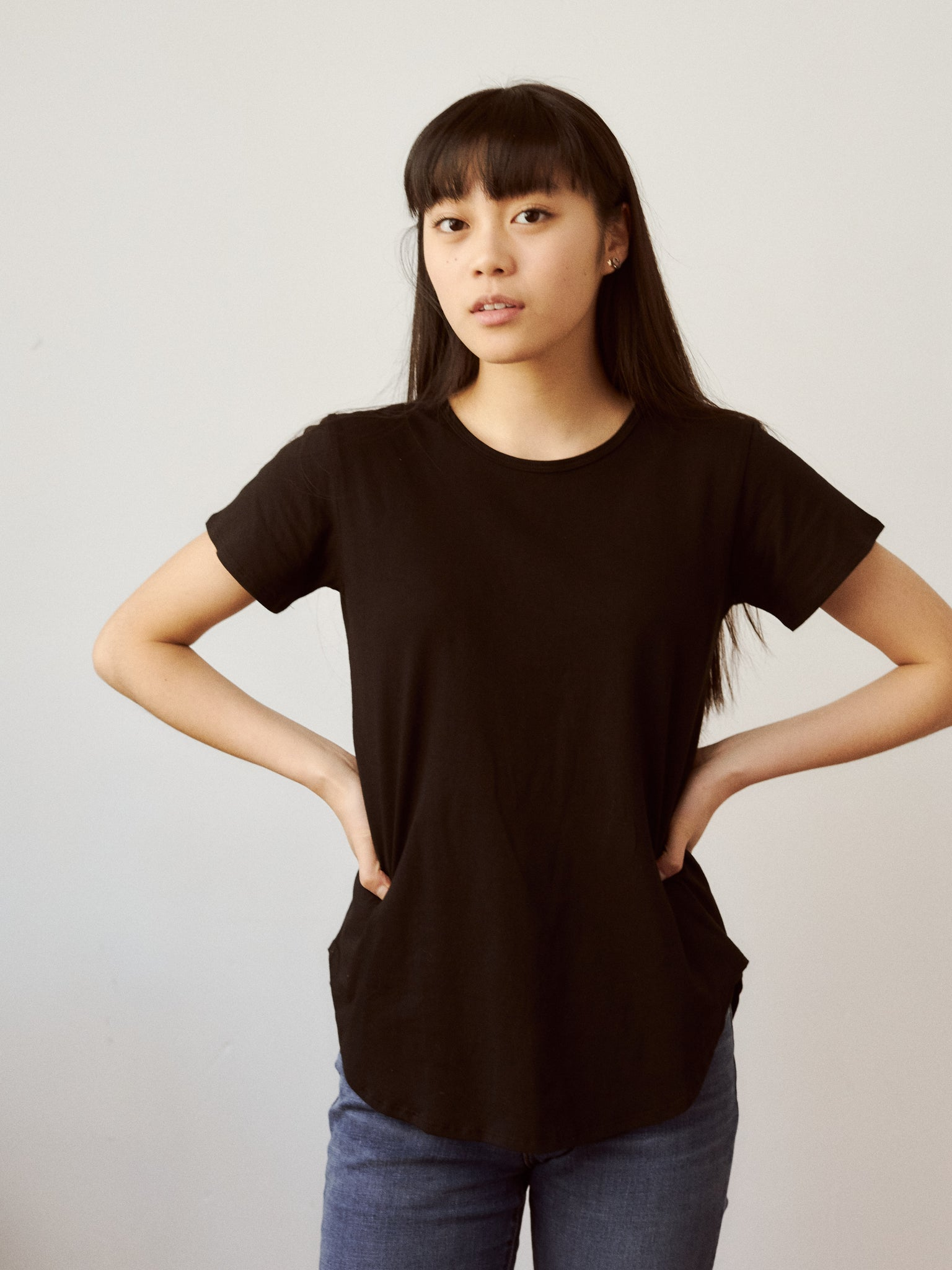 Black Jacquie Tee in Supima Cotton ethically made